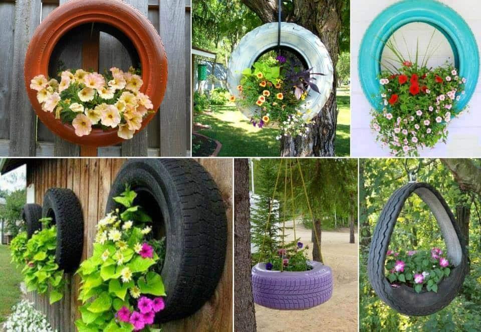 como decorar el jardín con neumáticos