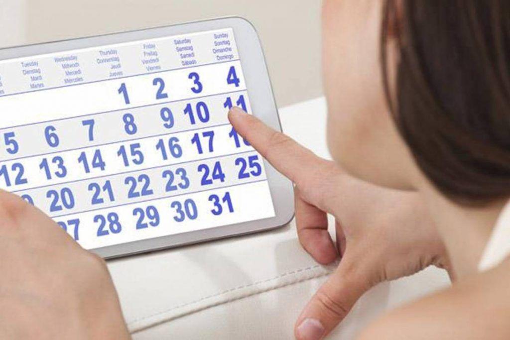 Calendario de días fértiles mujer