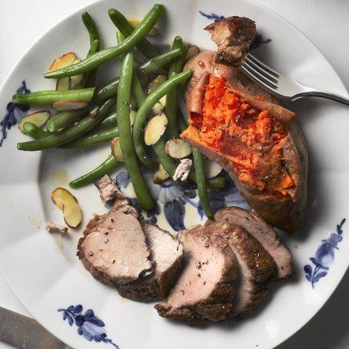 Pollo al horno con champiñones y batata